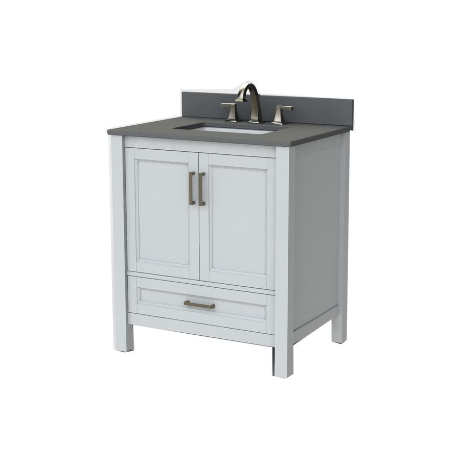 Photo Gallery For Website Scott Living White Undermount Single sink Oak Bathroom Vanity with Engineered stone Top