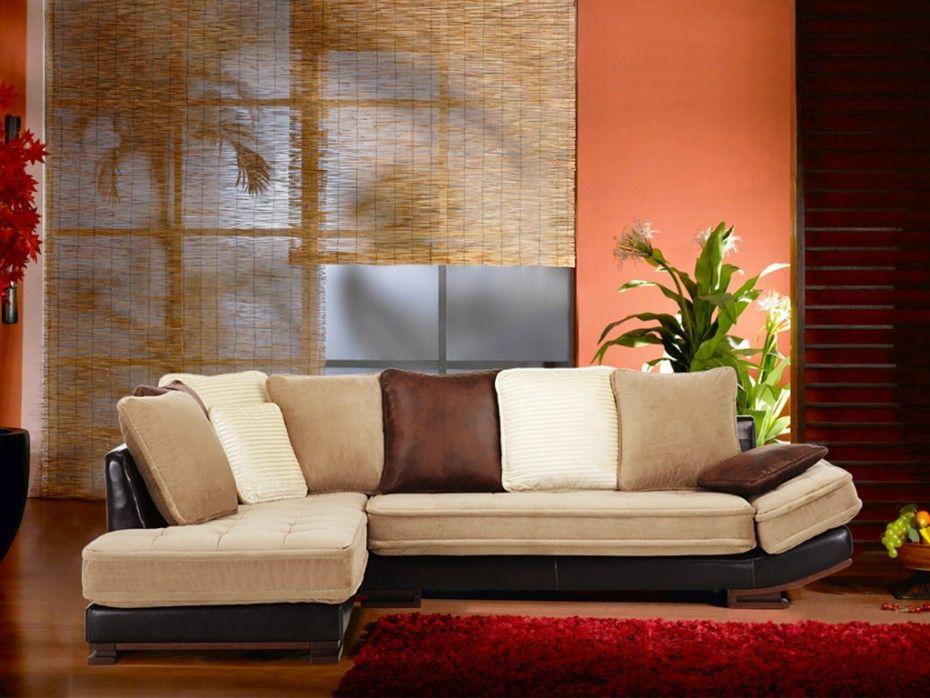 Canapé d angle velours et cuir Bycast MEKONG Beige et chocolat