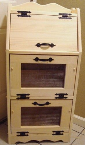 Unfinished Handcrafted Bread Box Vegetable Bin Potato
