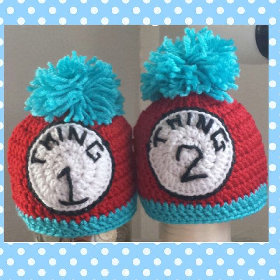 Dr. Seuss Inspired Thing 1 Thing 2 Twin Hats by TheNewYorkCrafter ...