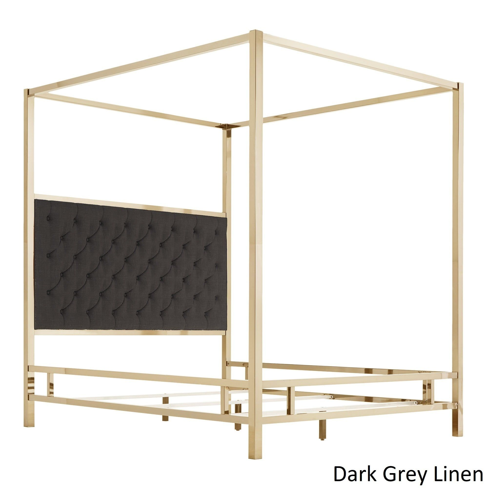 Solivita Champagne Gold Metal Canopy Bed with Tufted
