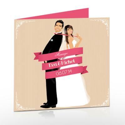 Création faire-part de mariage romantique original – chic rose retro – Création Carterie – Faire part de postscriptum n°50 347 (Vue 4 922 fois)