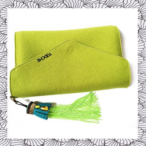 Bright green envelope summer clutch from wool felt by TOOCHEme
