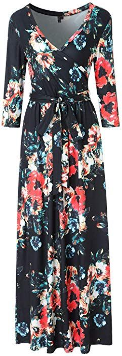 0b65c19fe40 Zattcas Womens 3 4 Sleeve Floral Print Faux Wrap Long Maxi Dress Belt  (Small