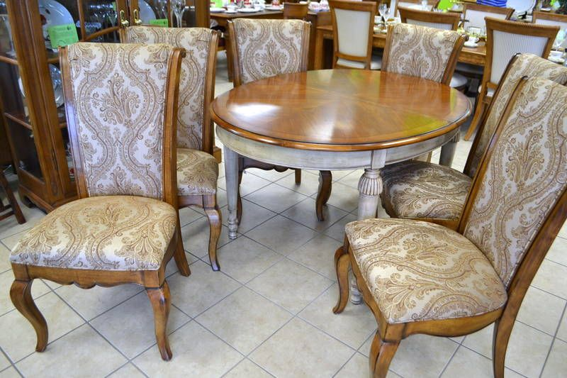 Solid Wood Country French Provincial Drexel Dining Table With
