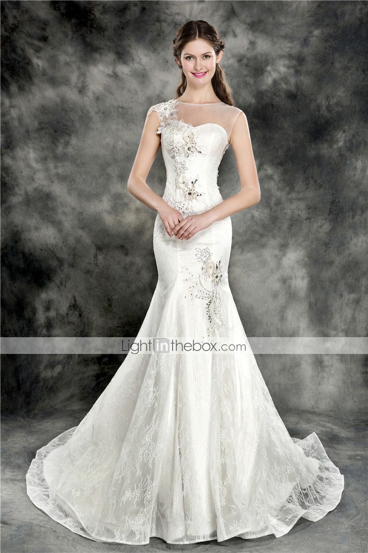 Lace mermaid wedding dress with train  TrumpetMermaid Wedding Dress  Ivory Chapel Train Jewel Lace