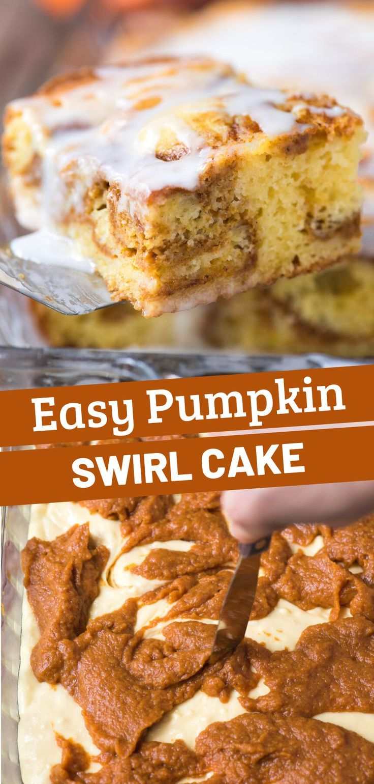 Easy pumpkin swirl cake is made with a doctored up yellow ...