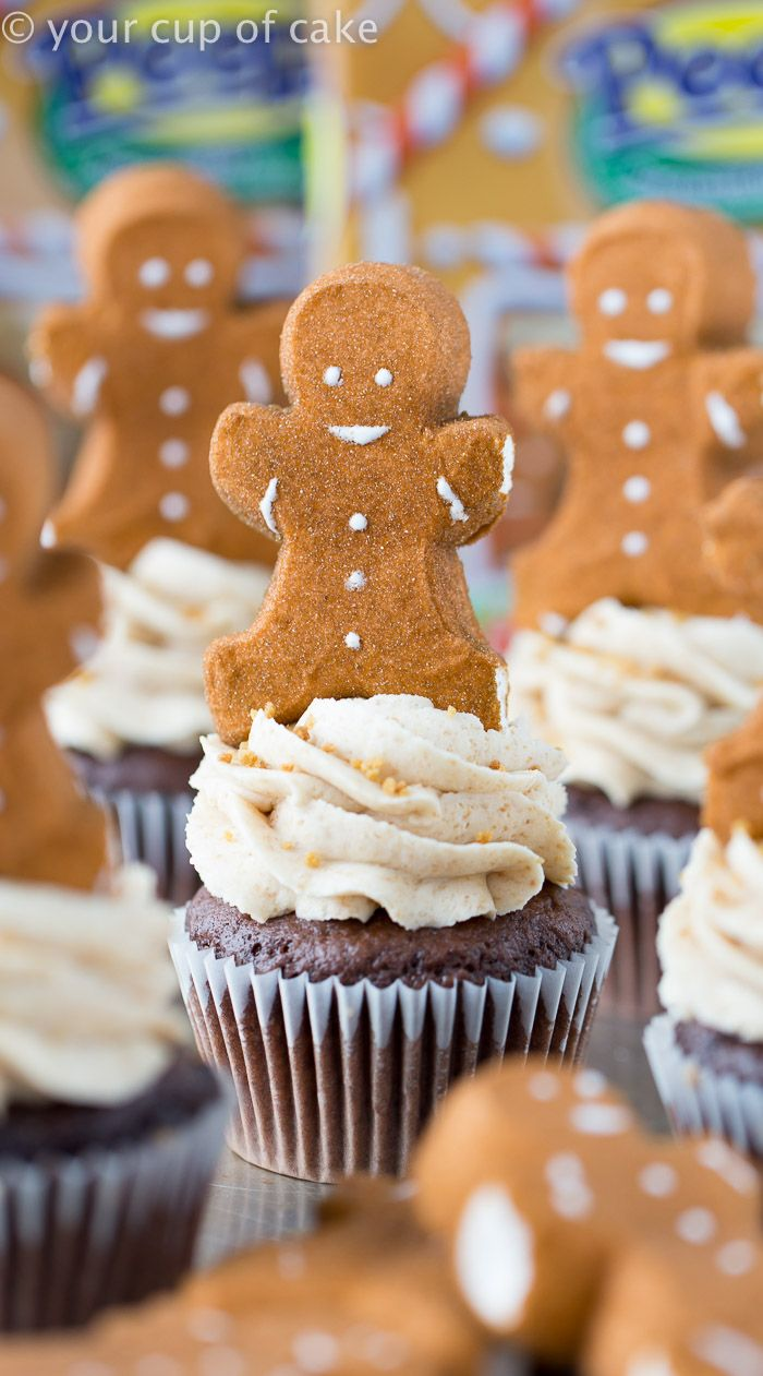 Hot Chocolate Cupcakes with Gingerbread Frosting!