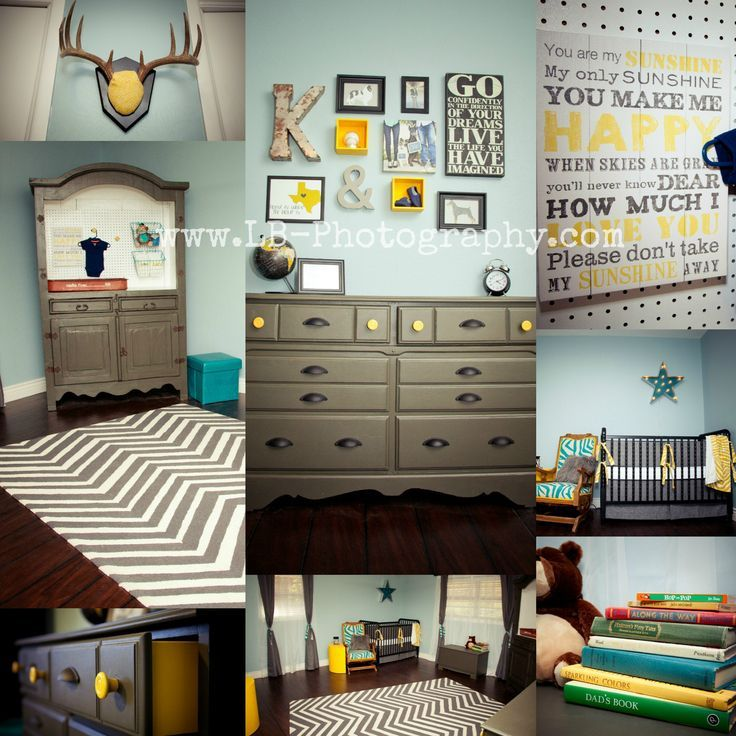 Grey, Yellow, And Blue Baby Boy Nursery Armoire Changing Table, DIY, Rusticu2026