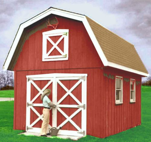 Classic 12 x 18 ft barn shed with storage loft and double for Double door shed plans