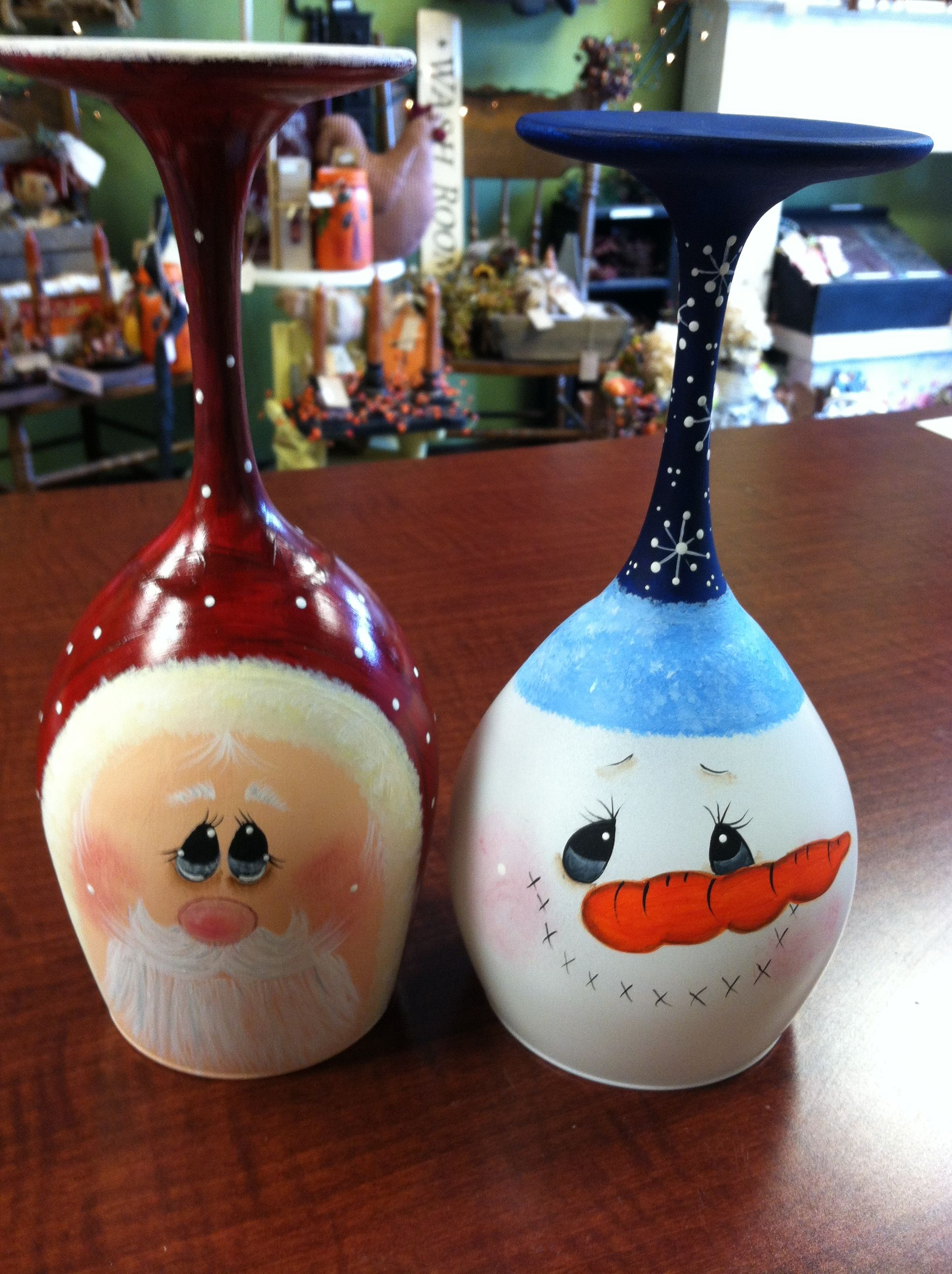 Hand painted decorative wine glass candle holders. Sold a ...