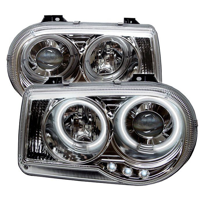 Black 2005 2006 2007 2008 2009 2010 Chrysler 300c: Chrysler 300C Chrome/Clear Projector Headlights Fit 2005