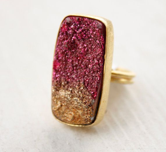 fuschia druzy ring