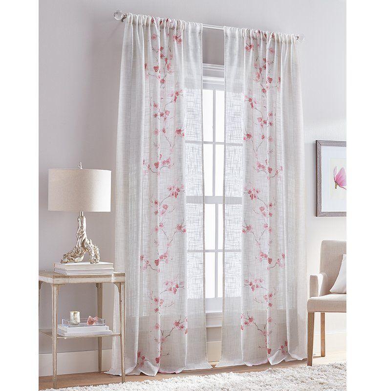 Damien Floral Flower Semi Sheer Rod Pocket Single Curtain Panel