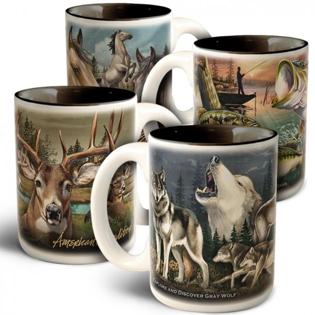 Wildlife Collage Stoneware Coffee Mug Set American Expedition Mugs Mugs Set Coffee Mugs