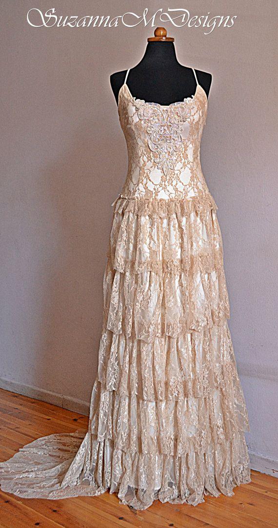 Cream Lace Bohemian Wedding Dress /Long Bridal Wedding Gown ...