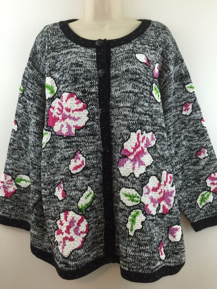 95efcb896f2 Storybook Knits Womens Plus 3X Cardigan Sweater Black   White Colorful  Floral  StorybookKnits  Cardigan