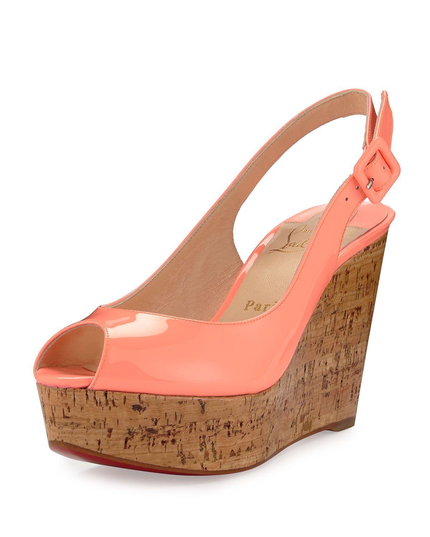 a2576eb5e69 Christian Louboutin Une Plume Patent Peep-Toe Red Sole Wedge Sandal ...