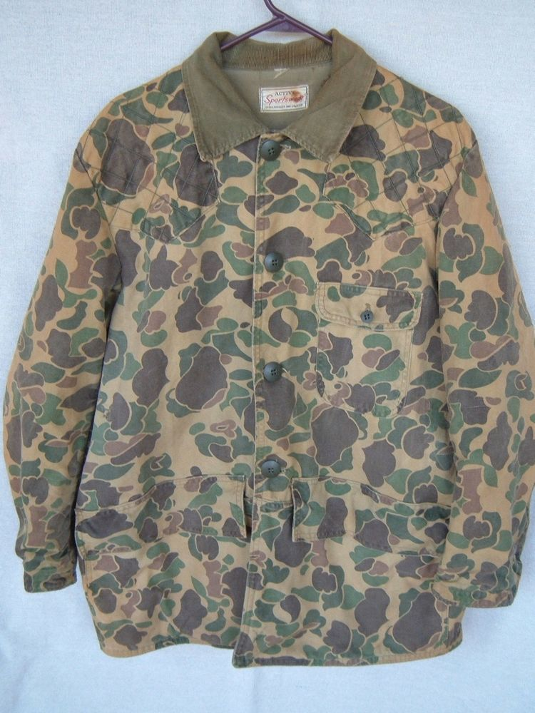 96b702c177227 Vintage Old School Camo Hunting Jacket Coat Sears Roebuck Mens Measured Sz  Large #SearsandRoebuck