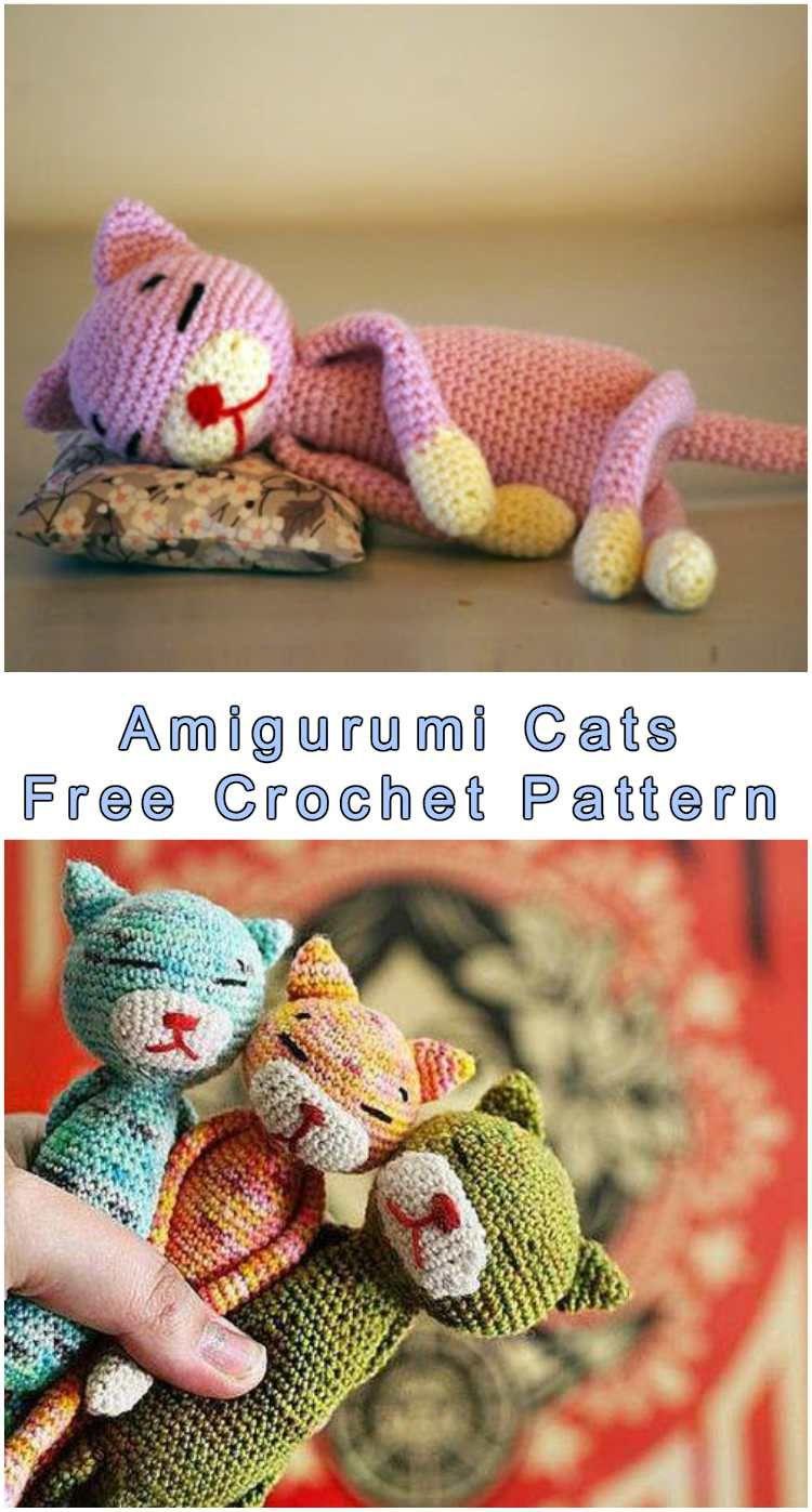 Amigurumi Sleeping Cats - Free Crochet Pattern. It comes from Japan ...