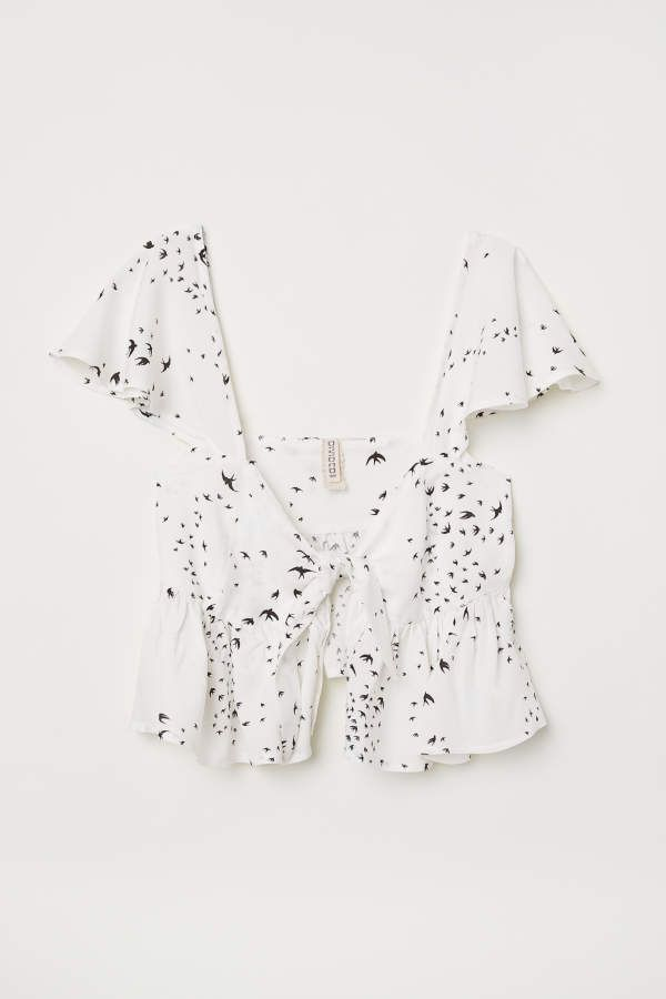 H M H M Tie Front Top White Swallows Women Damenmode Online Modestil Mode
