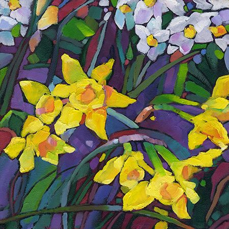 Just Landscape Animal Floral Garden Still Life Paintings by Louisiana Artist Karen Mathison Schmidt: Springtime Medley abstract fauve impressionist jonquil painting • yellow daffodils garden floral art • original contemporary stained glass style oil painting by Louisiana artist KMSchmidt