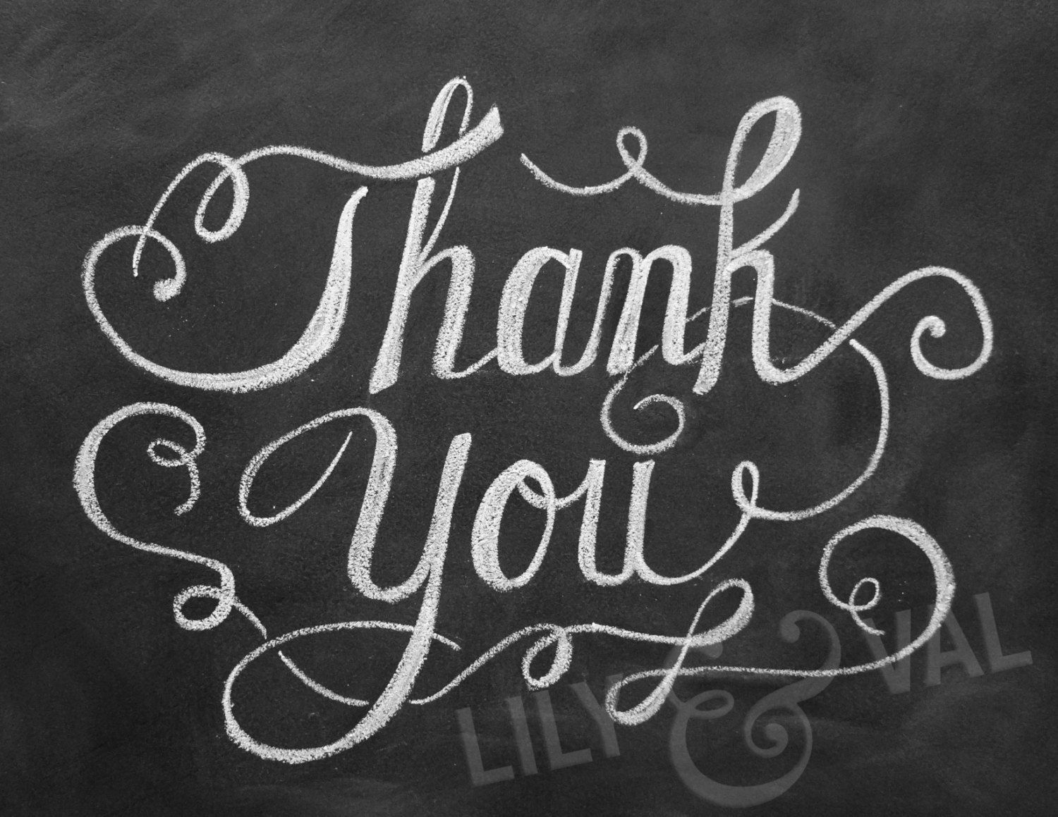 elegant thank you hand lettered thank you card chalkboard thank