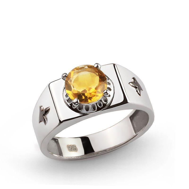 REAL Natural 2.40 ct CITRINE Gemstone 925 K Sterling Silver Men's Ring 69503 #eJOYA #Cluster