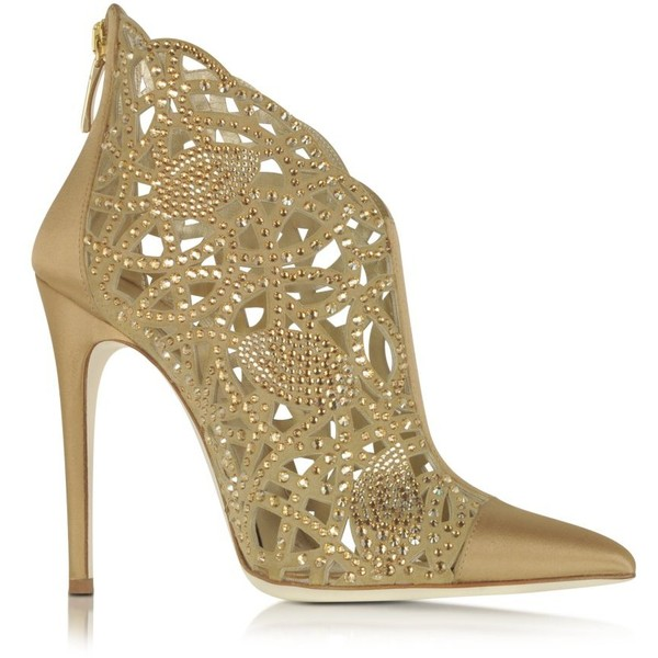 Loriblu Golden Satin and Jewel Bootie (4.685 BRL) ❤ liked on Polyvore featuring shoes, boots, ankle booties, heels, ankle boots, sapatos, gold, cut-out boots, heeled ankle boots and cut out booties