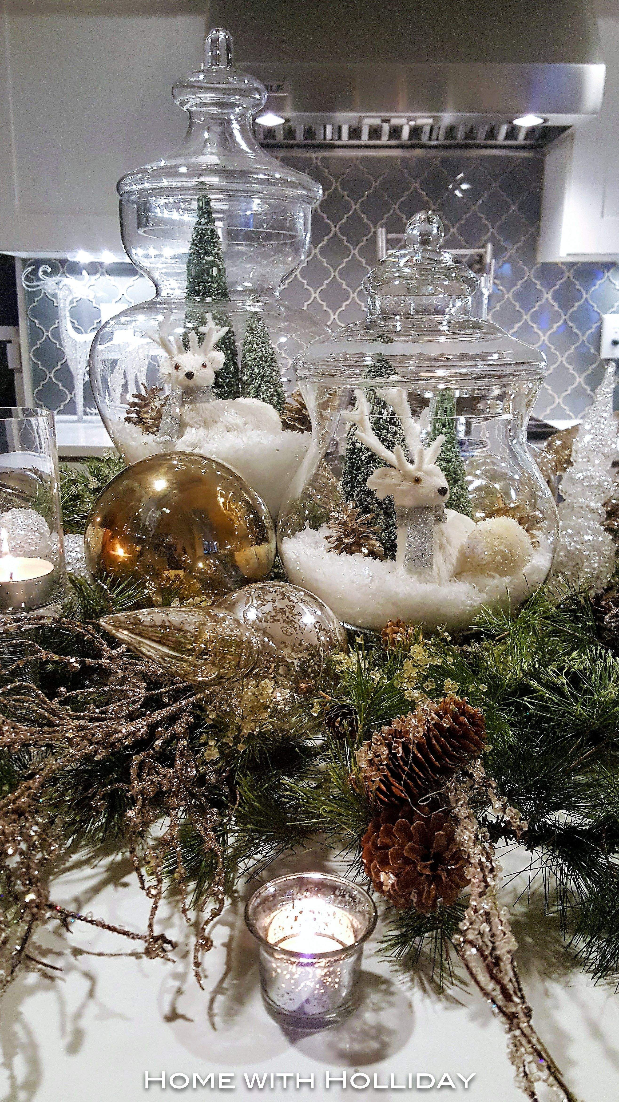 Easy And Elegant Christmas Decorating Ideas Use Apothecary Jars Home With Holliday Christmasdecor Apothecaryjars Christmasdecorations