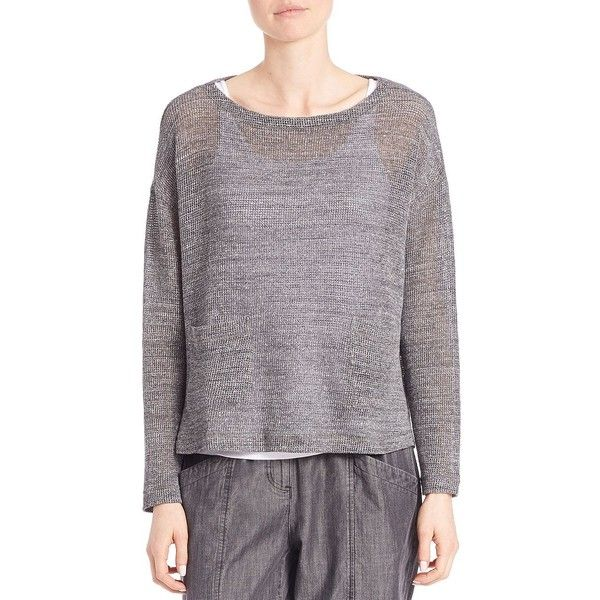 Eileen Fisher Cotton Boatneck Sweater ($200) ❤ liked on Polyvore ...
