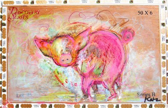 Daily Painters Abstract Gallery: Piggy Wiggy - Abstract Animal Art on Cigar Box By Vanessa Katz