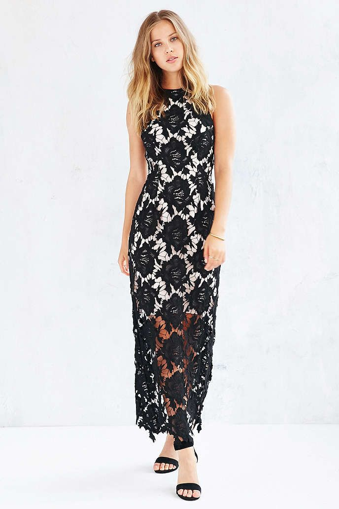 Black lace maxi dress urban outfitters