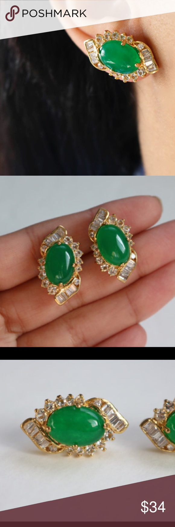 "Sparkly Crystal Green Earrings. Sparkly Crystal Gold Earrings.  1"" X 0.5""     Material:18k gold plated Jewelry Earrings"