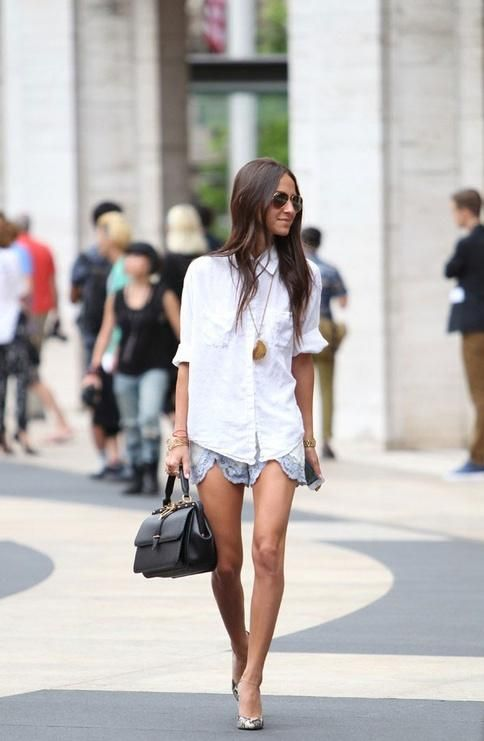 lace shorts + white button up