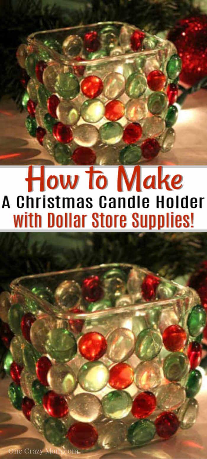 DIY Dollar Store Christmas Candle Holder - Dollar Store Craft Idea