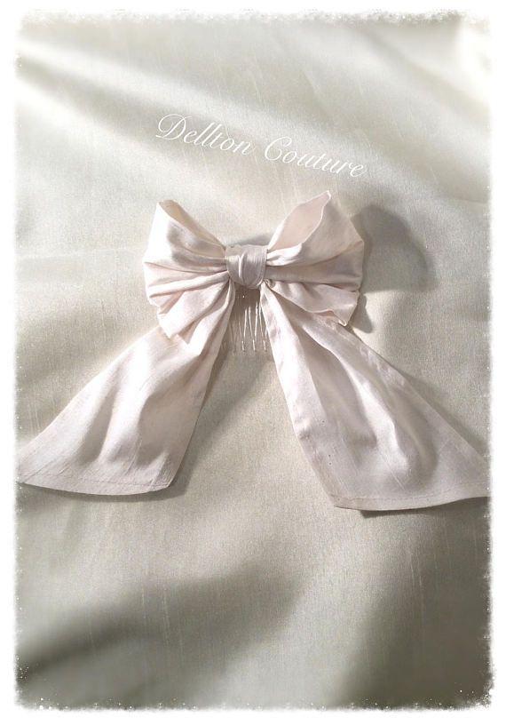 White Silk Dupioni Boutique Bow