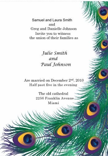 Peacock Feather Printable Invitation kit Includes invitation menu