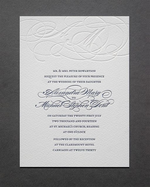 Love This Font For The Details All Caps With A Little Fancy Burgues Letterpress Wedding Invitations By Blush