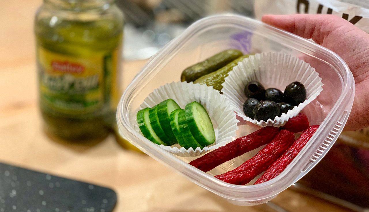 Make Ahead Keto Snack Boxes Slim Jims Black Olives Pickles Cucumbers Keto Snacks Keto Snacks