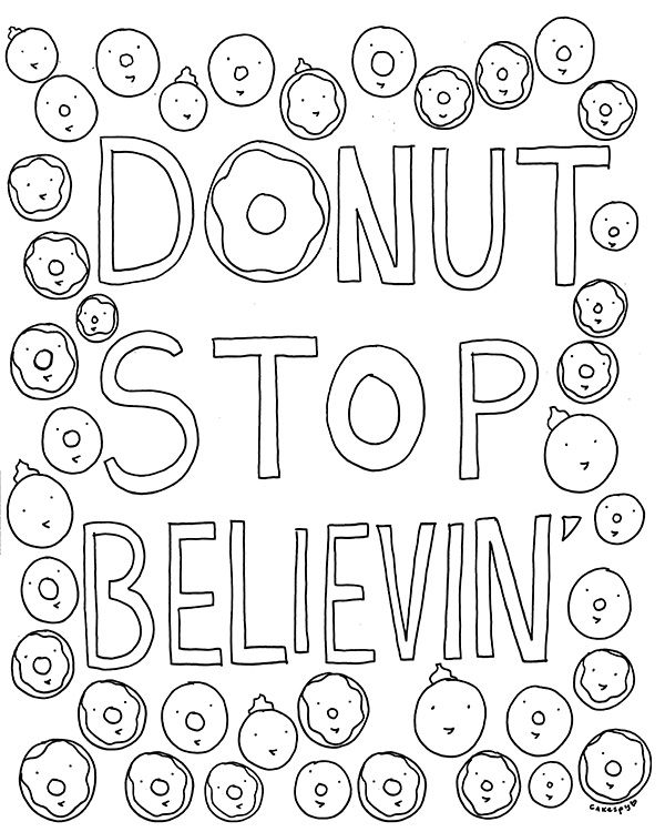 Free Coloring Book Page for Grown-Ups: Donut Stop Believin\' | More ...