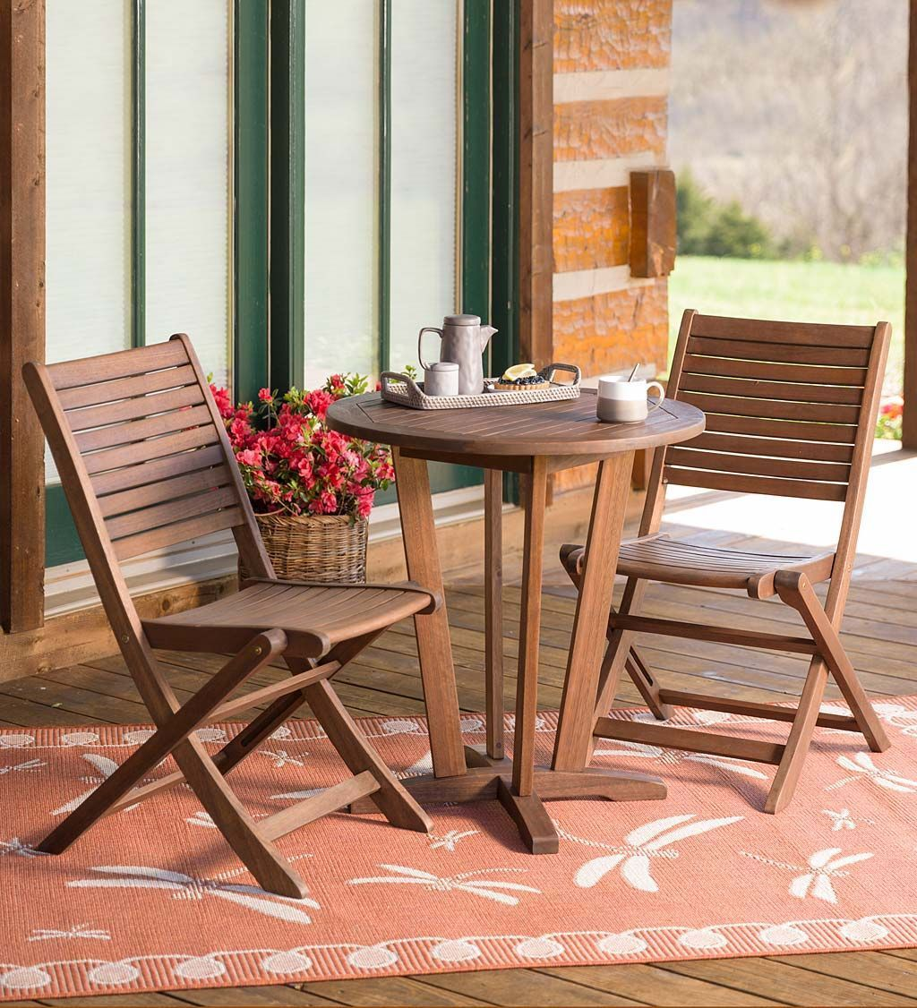 Eucalyptus bistro set table and two chairs outdoor wood furniture
