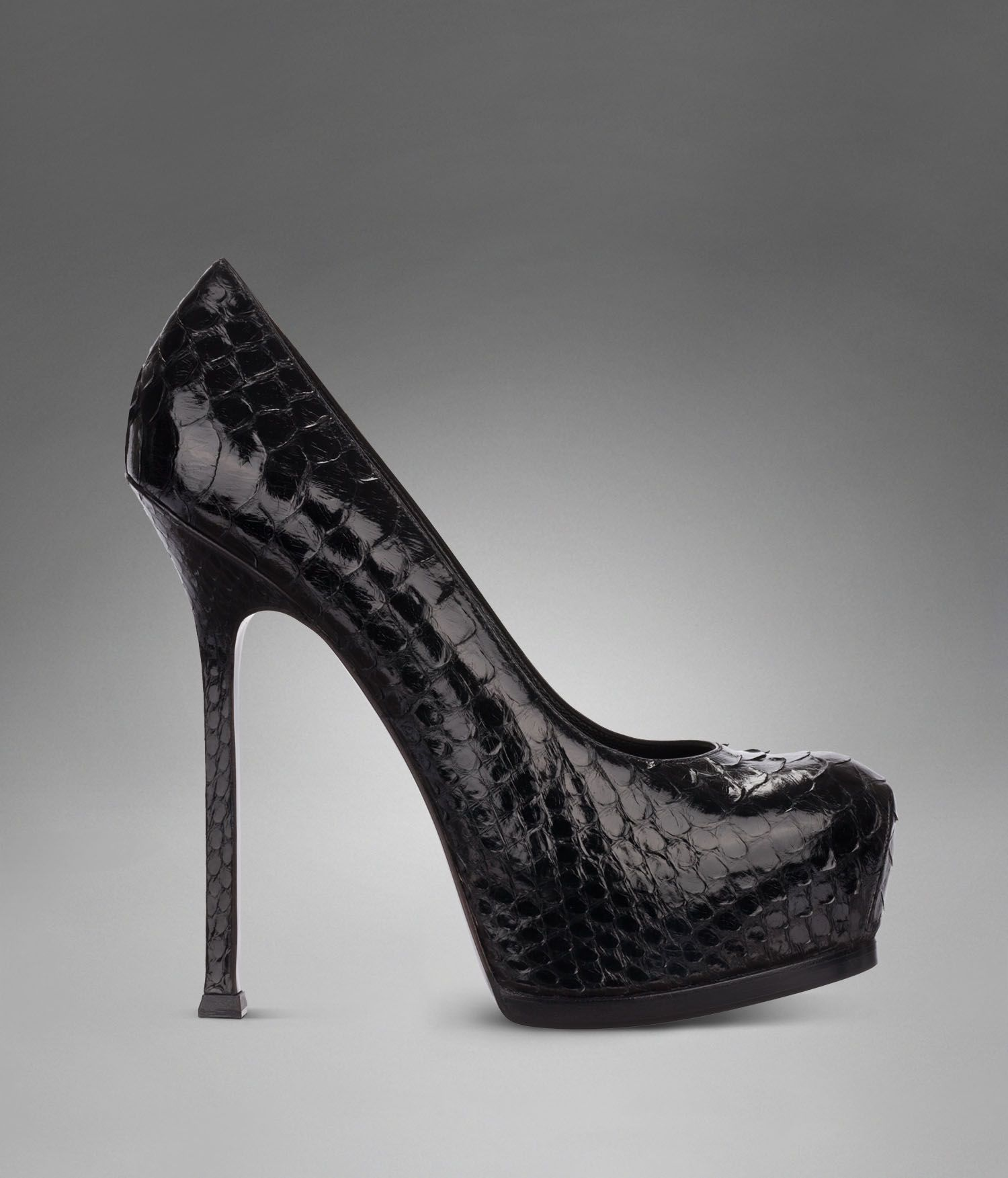 1b0f14c85cf YSL Trib Too High-Heel Pump in Black Python Skin - Pumps – Shoes – Women – Yves  Saint Laurent – www.ysl.com