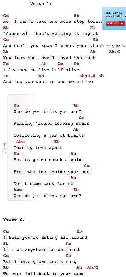 Jar Of Hearts Acoustic chords with lyrics by Boyce Avenue for guitar...