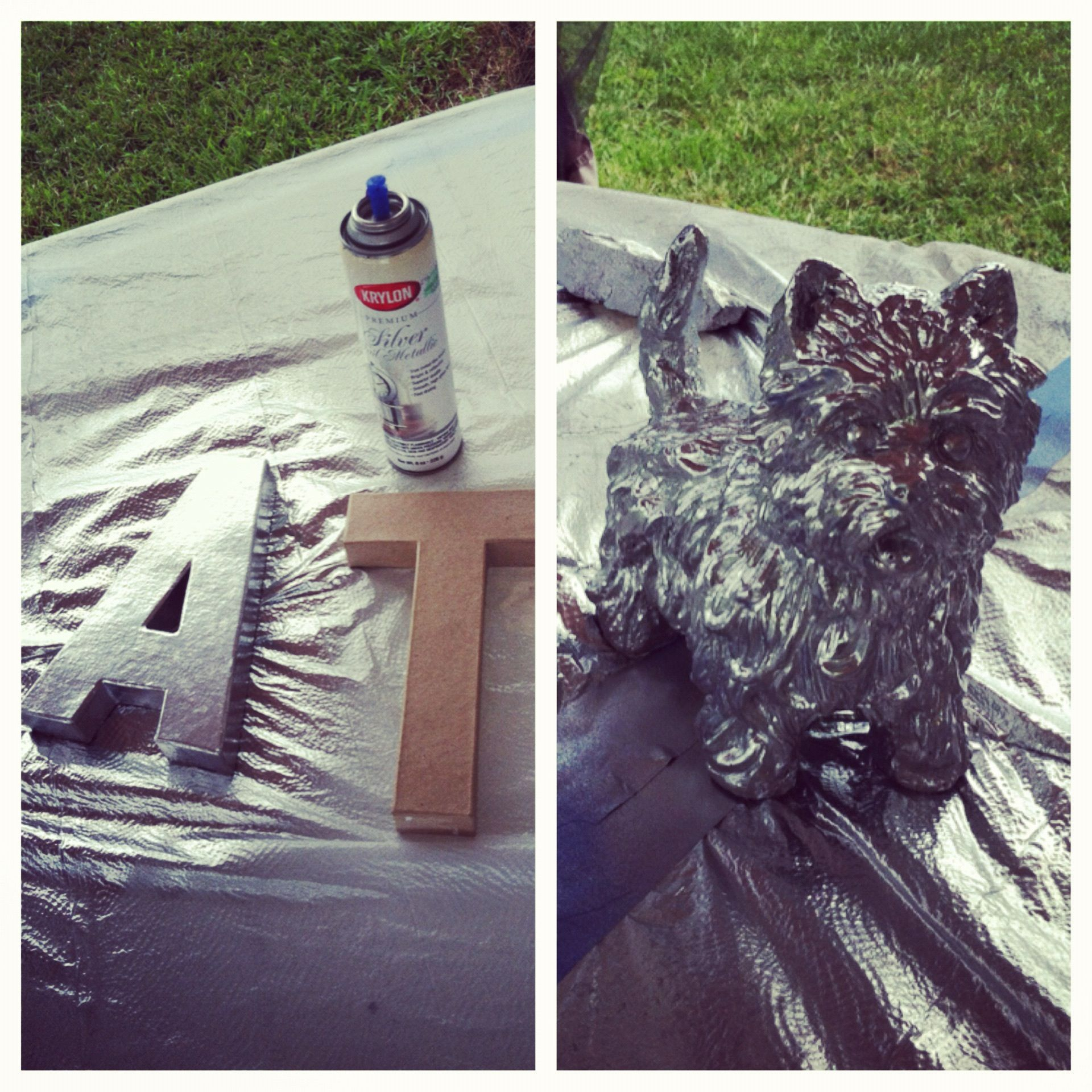 krylon silver foil metallic spray paint cardboard letters from hobby lobby resin dog statue