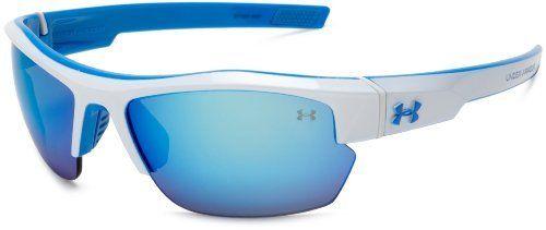 9db07320cfaa Under Armour Igniter Pro Sport Sunglasses,White & Light Blue Frame/Gray,  Blue & Multi Lens,One Size Under Armour. $104.99. Bridge: 15 millimeters.