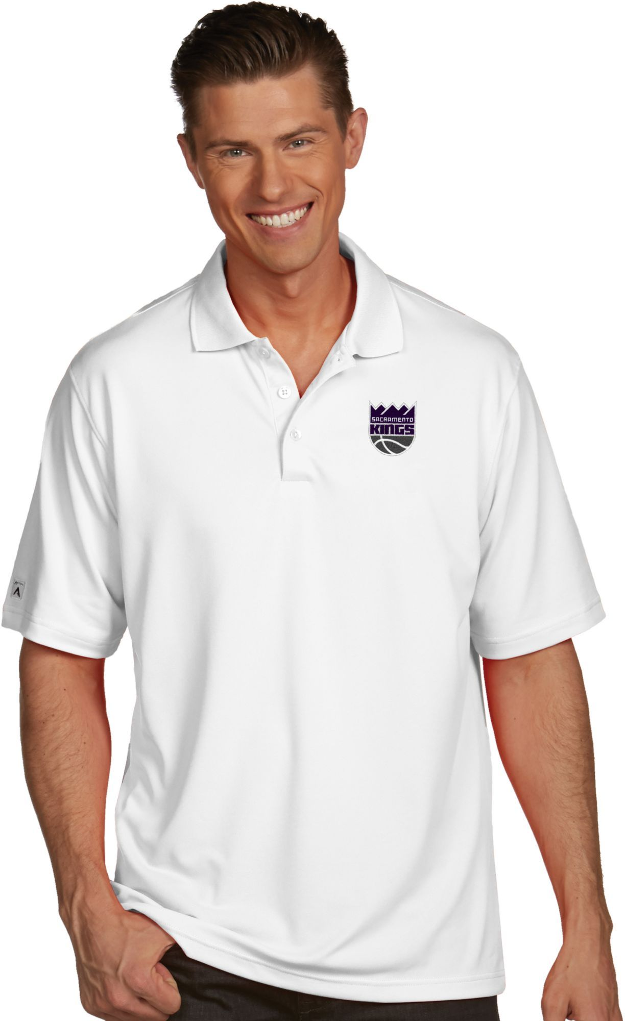 5b0469556f7 Antigua Men's Sacramento Kings Xtra-Lite White Pique Performance Polo,  Size: Medium, Team