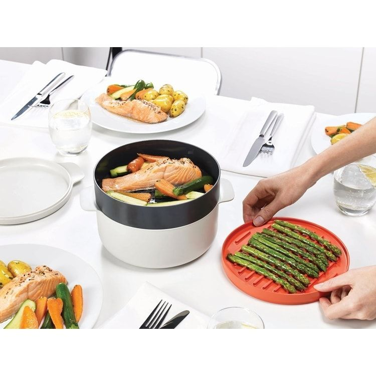 Joseph M Cuisine 4 Piece Stackable Microwave Cooking Set Orange Beige