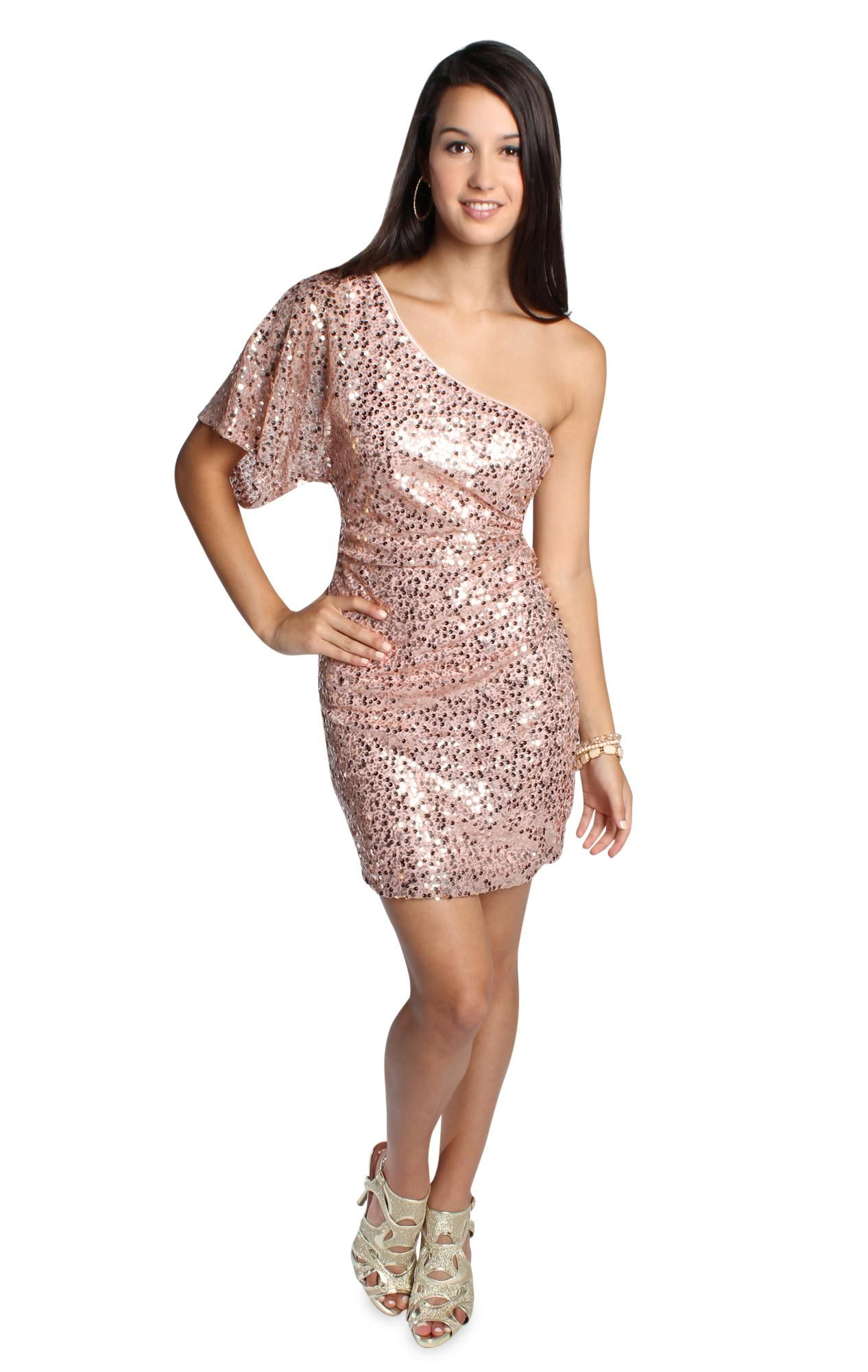 one shoulder all over pink sequin party dress | dream closet ...