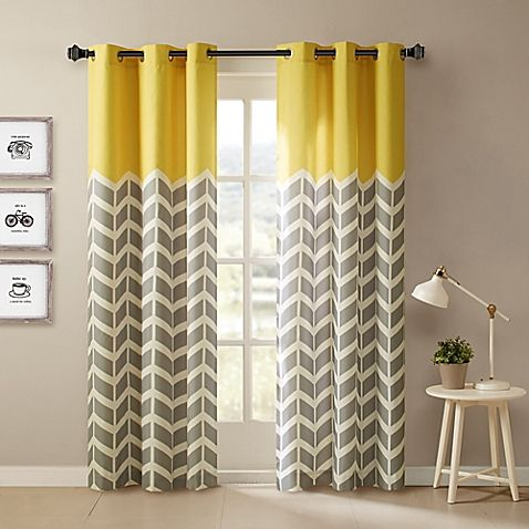 Intelligent Design Alex 2 Pack 63 Inch Grommet Top Window Curtain Panels In Yellow Chevron Curtains Yellow